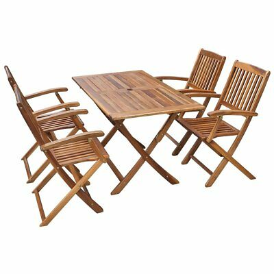 5 Piece Acacia Wood Outdoor Dining Set Garden Furniture Folding Table Chairs