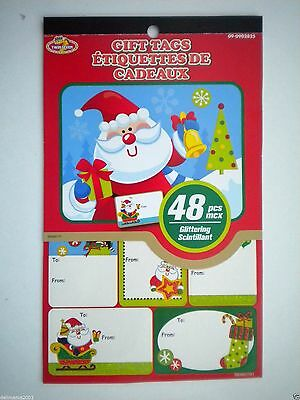 Book Of 48 Peel 'n Stick Glittery Christmas Gift Tags ~ #1