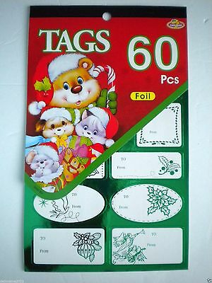 Book Of 60 Peel 'n Stick Green & Gold Foil Christmas Gift Tags