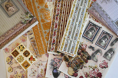 Extra Large Victorian Floral Themed Scrapbook/card Making Kit
