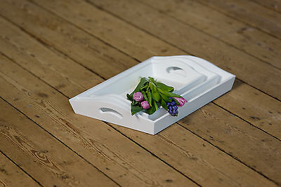 White Wooden Serving Trays Handles Small Medium Large