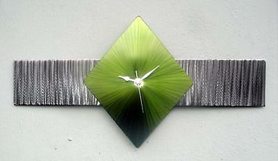 Lime Green Silver Metal Wall Clock Hand Crafted Time Watch Large Diamond Long