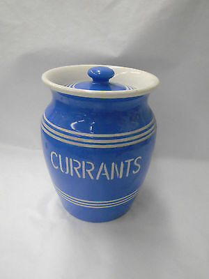 Lovely Vintage Bretby Blue & White Storage Jar - Currents - C.1930's