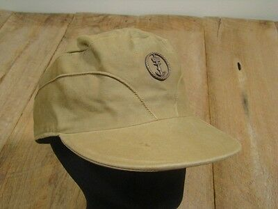 VTG British Royal Navy Hat-Canvas-King Cross Crown -Authentic-French-WWII