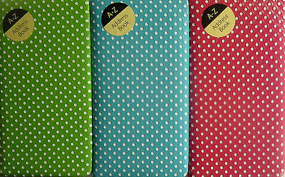 Slimline A6 Polka Dot Padded A-Z A to Z Address Book (Pink, Green or Turquoise)