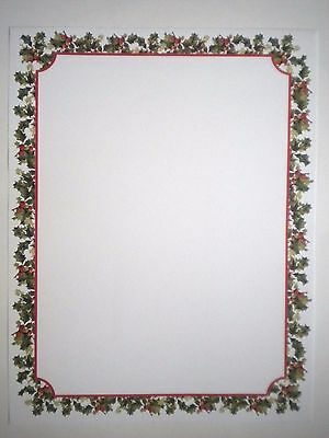 "10 Luxury Christmas ""HOLLY & BERRIES"" Computer Stationery Sheets & 10 Seals"