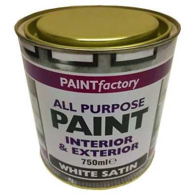750ml Long Lasting White Satin Paint Can Easy To Apply Indoor Outdoor Adhesion