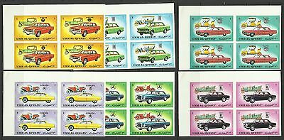 Cars-1972 Umm al Qiwain-MNH block of 4 complete set-Imperforated
