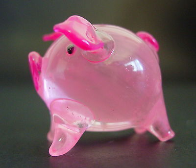 Glass PIG PIGLET Pale Pink Painted Glass Animal Glass Curio Display Ornament