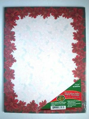 "25 Designer Christmas ""POINSETTIAS"" Computer Stationery Sheets"