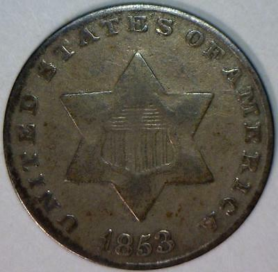 1853 Three Cent Silver; F; Nice Original