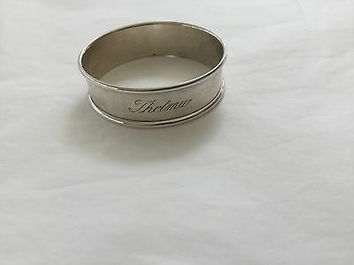 Vintage Gorham  sterling silver napkin ring engraved with the name THELMA