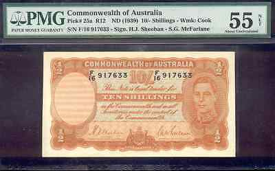 riotis item 4454: PMG55 AUSTRALIA 10 SHILLINGS 1939, ALMOST UNCIRCULATED, P-25a