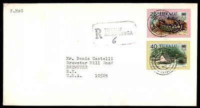 Tuvalu Nanumanga to US 1980 Registered Cover With Fish Issues