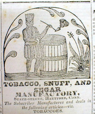 1832 Hartford CT newspaper w TOBACCO AD Nice NATIVE AMERICAN INDIAN illustration