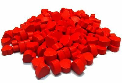 PACK OF 200, 1cm MINI WOODEN RED LOVE HEARTS  - FAVOURS, WEDDING, VALENTINES