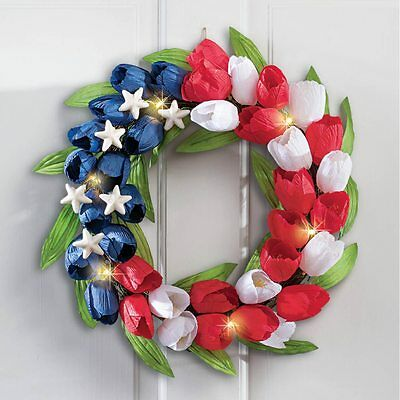 """17"""" Dia. LED Lighted USA Red, White & Blue Patriotic Tulip Wall Door Wreath"""