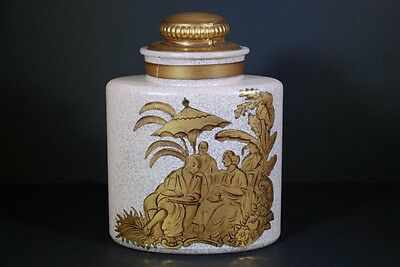 Vintage Consolidated Charleton Chinoiserie Hand Decorated Awco Large Lidded Jar