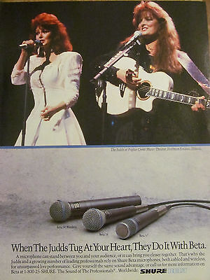 The Judds, Shure Microphones, Full Page Vintage Ad