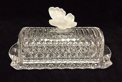 Glass Butterfly Butter Dish by Hofbauer 24% Lead Crystal made in Germany