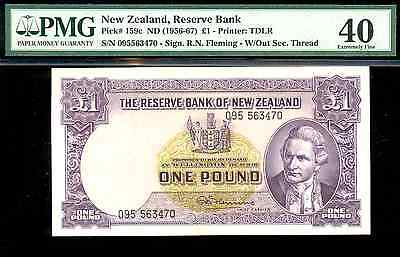 riotis item 4457: PMG40 NEW ZEALAND 1 POUND 1956, P-159c
