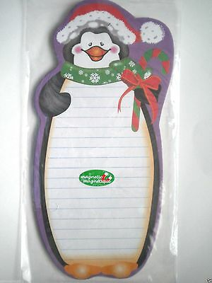 """""""CHEERY PENGUIN"""" MAGNETIC HOLIDAY SHOPPING LIST NOTEPAD ~ 40 Sheets"""