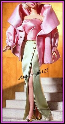 pink and green evening gown dress fits silkstone model muse Barbie