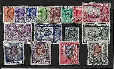BURMA SG18b/33 1938-40 DEFINITIVE SET USED