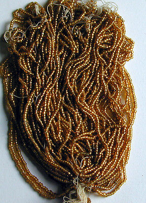 Gold Vintage Antique SL Silver Lined Seed Beads MASTER HANK of 6+ Mini Hanks Lot