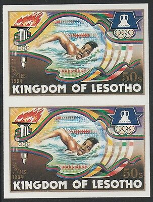 Lesotho (1272) - 1984 OLYMPICS SWIMMING IMPERF PAIR unmounted mint