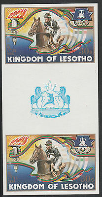 Lesotho (1278) - 1984 OLYMPICS HORSE RIDING IMPERF GUTTER PAIR unmounted mint