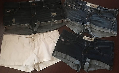 Hollister Shorts 25 1 lot of 4 = 3 pair denim 1 white chino destroyed frayed