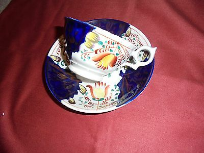 Antique China :  19th century pottery Gaudy Welsh - Cup & Saucer  - TULIP Design