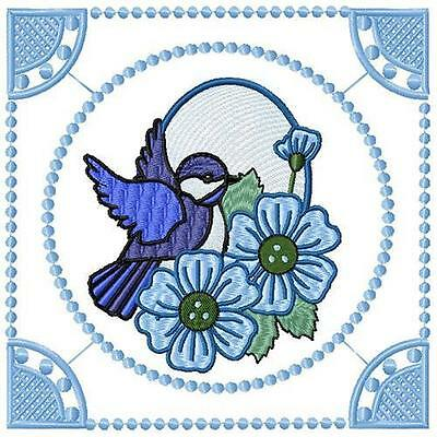 Elegant Blue Birds12 Machine Embroidery Designs Cd 3 Sizes Included