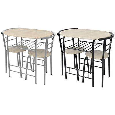 Breakfast Bar Table 2 Chairs Stools Set Dining Room Kitchen Compact Sliver/Black