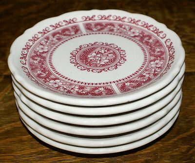 Syracuse China Strawberry Hill Pattern Red * SIX Bread Plates