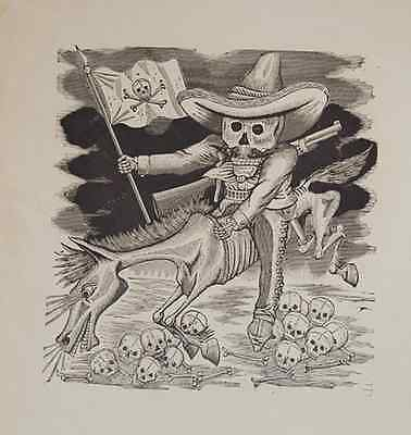 RARE FIND Jose Guadalupe Posada Original Engraving  DAY OF THE DEAD SIGNED
