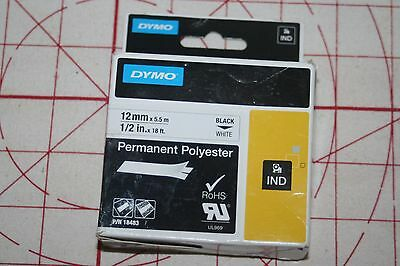 """DYMO 18483 Industrial - Rhino labels Permanent Polyeste Tape 1/2"""" X18Ft Blk/Wht"""