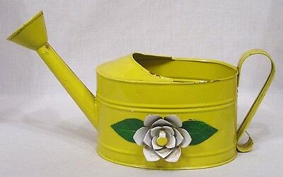 Vintage Tin Watering Can Yellow w Applied White Rose on Side 1960s