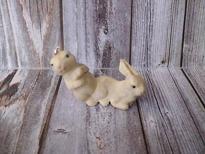 Pendant Necklace Double Rabbit 3D from Deer Antler Carved with Silver 925_x587