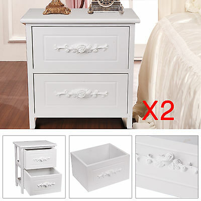 2 X White Pair Bedside Units 2 Drawers Rose Cutout Chest Cabinets Side Table UK