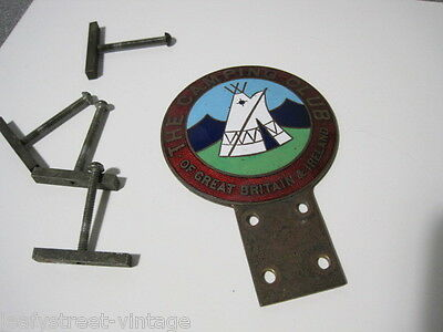 VINTAGE The camping Club of Great Britain and Ireland Car Mascot Badge Enamel