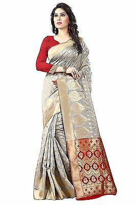 Party Wear Bollywood Designer GREY SILK Embroidery Indian Bridal Saree! - 8116
