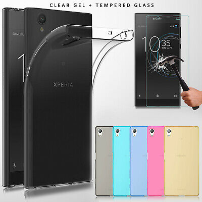 Ultra Slim Clear Gel Case Cover & Tempered Glass for Sony Xperia Phone 2017