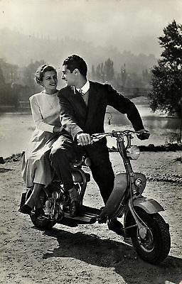 Couple with scooter Vespa Real old photo postcard 190's