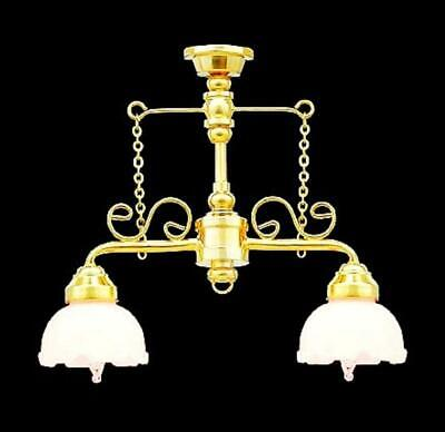 Melody Jane Dolls House Victorian Shop Counter Light Gold Fancy Shades Lighting