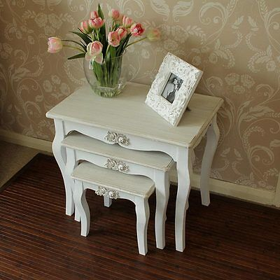 white set tables shabby vintage style chic home furniture country living room