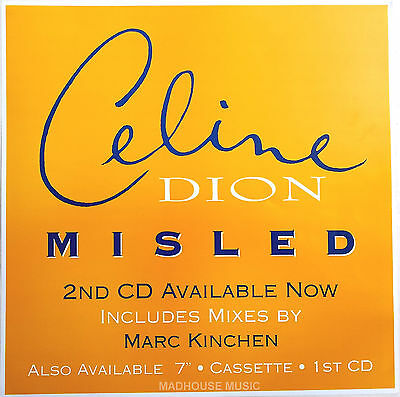 "CELINE DION Display Misled REMIXES Yellow UK PROMO ONLY Rare 12"" x 12"" Poster"