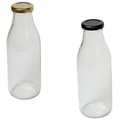 Vintage Style Clear Traditional Glass Milk Bottle Sold with Screw Top Lids 500ml