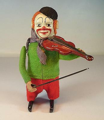Schuco Tanzfigur Clown mit Geige Uhrwerk Vorkrieg Made in Germany Nr. 1 #1124